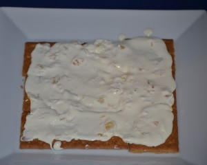 icebox cake batter spread on crackers