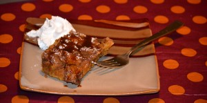 Pumpkin Bread Pudding With Caramel Topping