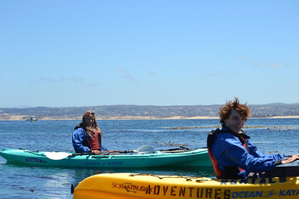 both kids kayaking
